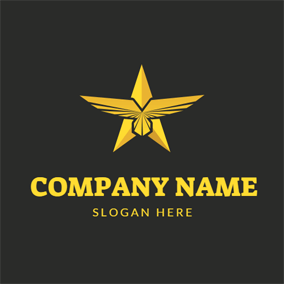 Golden Eagle Wings and Military Star logo design