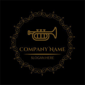 Golden Encircled Trumpet logo design