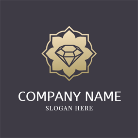 Golden Flower and Black Diamond logo design