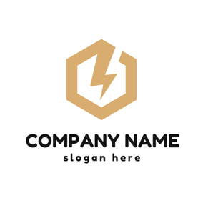 Golden Hexagon and Thunder logo design