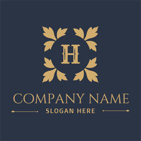 Golden Leaf and Letter H logo design