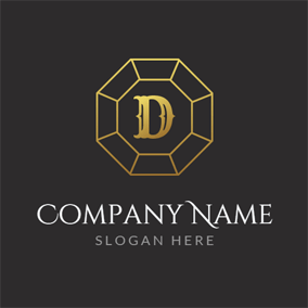 Golden Letter D logo design