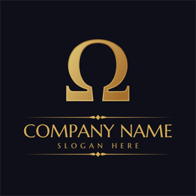 Golden Omega Symbol logo design