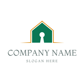 Golden Outlined Green House logo design