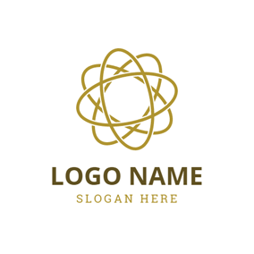 Golden Oval Shaped Rings logo design