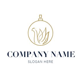 Golden Perfume Bottle and Swan logo design
