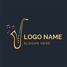 Golden Saxophone and Note logo design