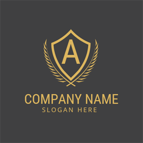 Golden Shield and Letter A logo design