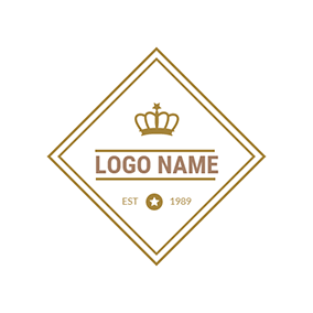 Golden Square and Crown logo design