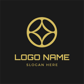 Golden Traditional Chinese Coin logo design