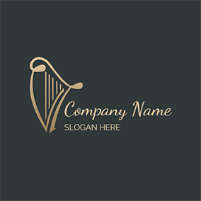 Golden Vintage Simple Harp logo design