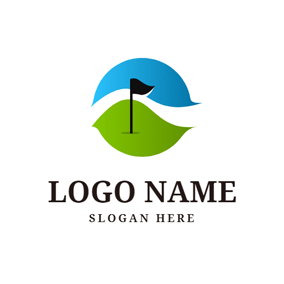 Golf Course and Golf Flag logo design