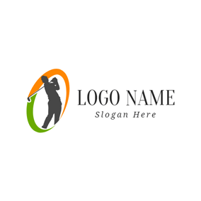 Golf Player and Golf Clubs logo design