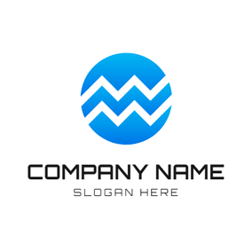 Gradient Blue Circle and Aquarius Sign logo design