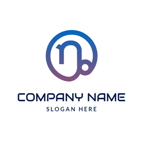 Gradient Color Circle and Capricorn Sign logo design