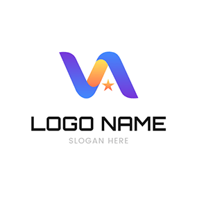 Gradient Curve and Abstract V A logo design