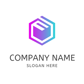 Gradient Hexagon Abstract Box logo design