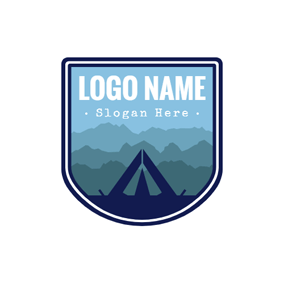 Gradient Overlapping Mountains and Tent logo design