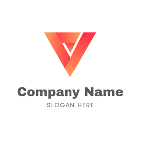 Gradient Ramp Fold Triangle logo design
