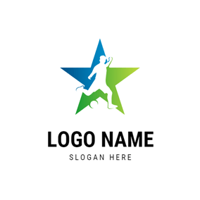 Gradient Star and Football Player logo design