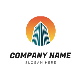 Gradient Sun and Edifice logo design