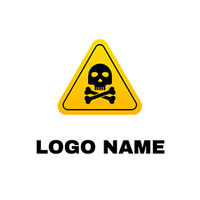 Gradient Triangle Skull Warning logo design