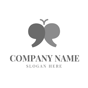 Gray and Black Quote logo design