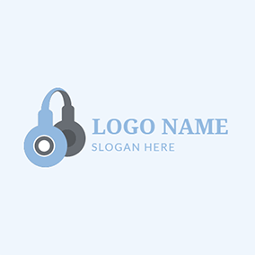 Gray and Blue Wireless Headphone logo design
