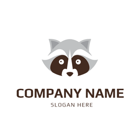 Gray and Brown Raccoon Head logo design