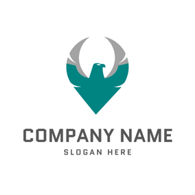 Gray and Green Eagle logo design