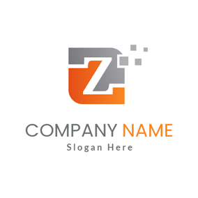 Gray and Orange Letter Z logo design