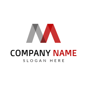 Gray And Red Letter M Logo Design