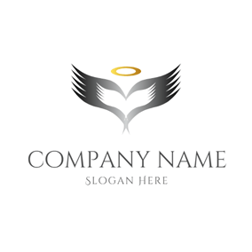 Gray and White Angel Wing logo design
