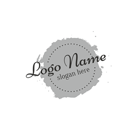 Gray and White Circle Icon logo design