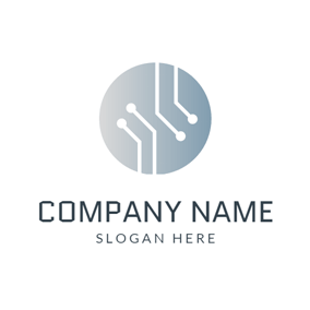 Gray and White Circle logo design