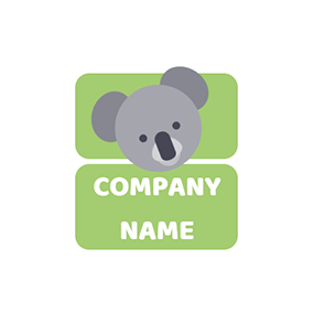 Gray and White Koala Head logo design