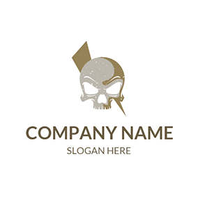 Gray and White Skull Icon logo design