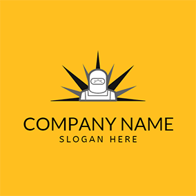 Gray and White Welding Engineer logo design