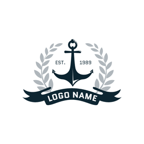 Gray Branch and Blue Anchor logo design