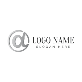 Gray Circle and Alpha Symbol logo design