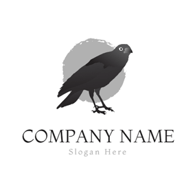 Gray Circle and Black Raven logo design
