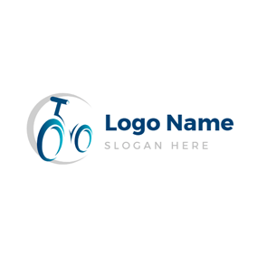 Gray Circle and Blue Bike logo design