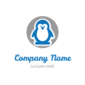 Gray Circle and Chubby Penguin logo design