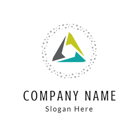 Gray Circle and Combined Triangle logo design