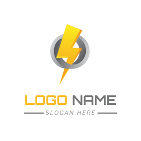 Gray Circle and Lightning Power logo design