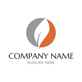 Gray Circle and White Fire Flame logo design
