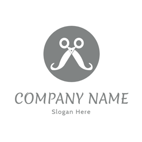 Gray Circle and White Scissor logo design