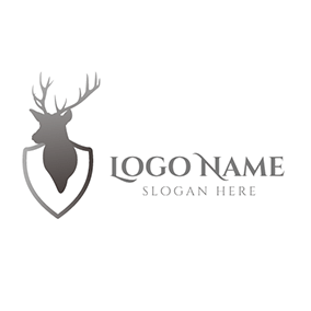 Gray Deer Head Badge Icon logo design