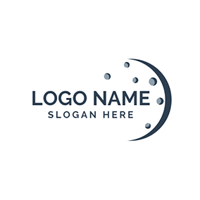 Gray Dot and Blue Crescent Moon logo design