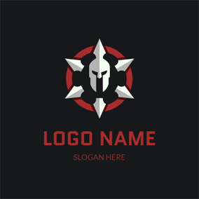 Gray Helmet and Barbarian Knight logo design